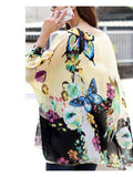 Latest Design Top Love Of Butterfly Apricot Oversize Chiffon Blouse Tops For Girls