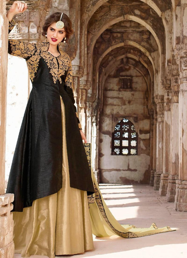 570ed64c13 Shop Online Designer Black and Beige Color Partywear Front Slit Open  Anarkali Silk Suit With Heavy Golden Work – Lady India