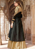 Designer-Anarkali-Black-And-Beige-Art-Silk-Lehenga-Style-Anarkali