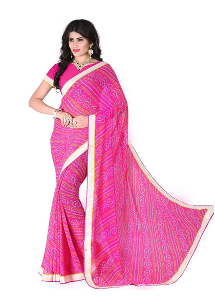 casual-wear-chunri-print-golden-lace-border-bandhani-georgette-sarees-for-women