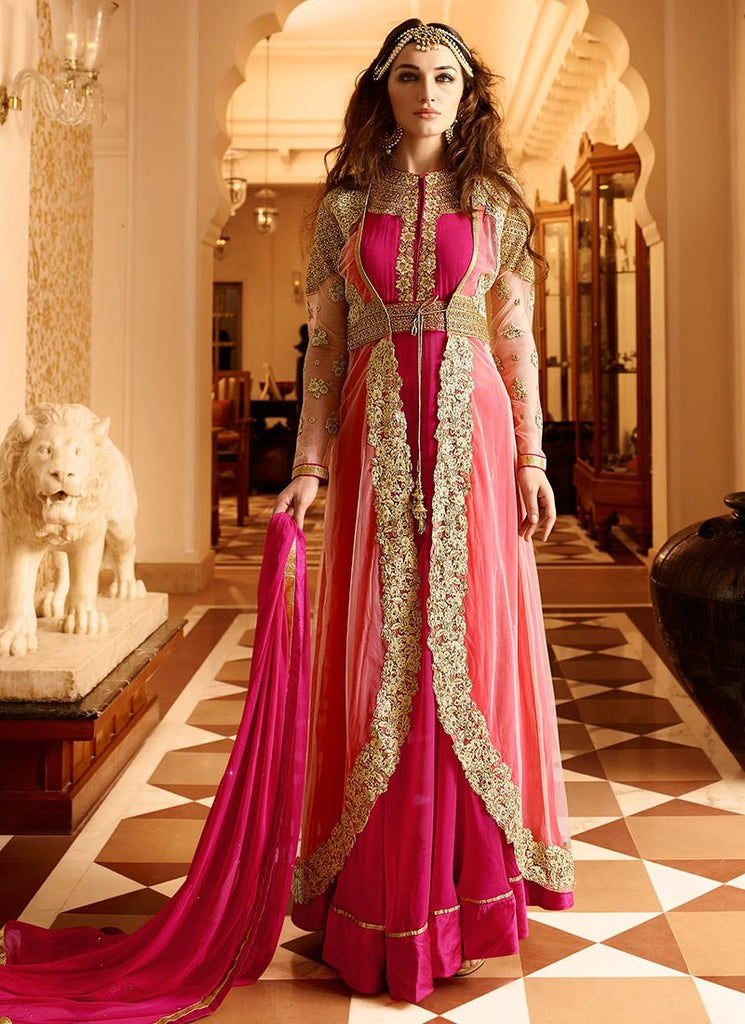 4c70401bb6 Online Shop Designer Pink Color Georgette & Net Partywear Anarkali ...