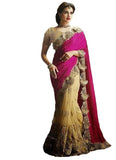 Latest Magnificient Pink Chiku Half n Half Saree