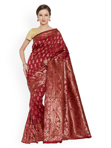 Maroon Color Banarasi Saree