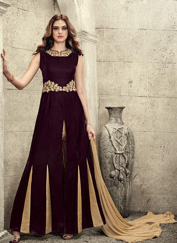 A-Line-Anarkali-Micro-Velvet-Top-With-Banarsi-Silk-Pant-Suit-Salwar-Suit-Anarkali-Suit-