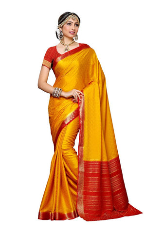 Latest Kanjivaram Style Traditional Crepe Sarees With Red Ethnic Print Border Work