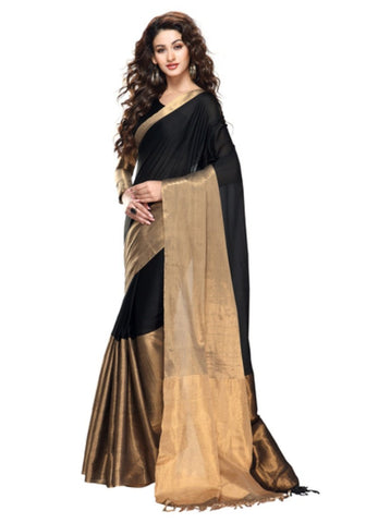 black-plain-handwoven-sarees-with-golden-broad-border-work-handwoven-cotton-sarees