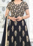 Mouni Roy Designer Holi Collection Anarkali Black Faux Georgette Heavy Floral Embroidery Semi Stitched Salwar Suit