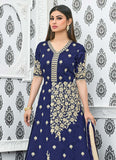Mouni Roy Designer Holi Collection Anarkali Navy Blue Heavy Tapeta Silk Embroidery Semi Stitched Salwar Suit