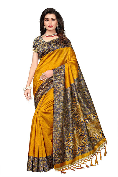 Mustard Yellow Silk Saree