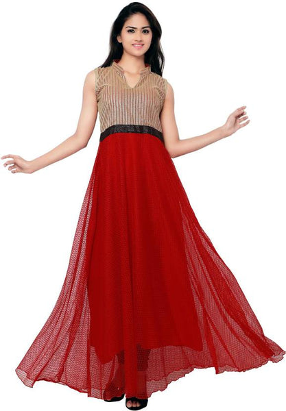Western Gown Red & Golden Color Partywear Gown