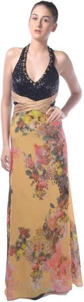 Trendy Gowns Yellow & Black Color Floral Print Gowns