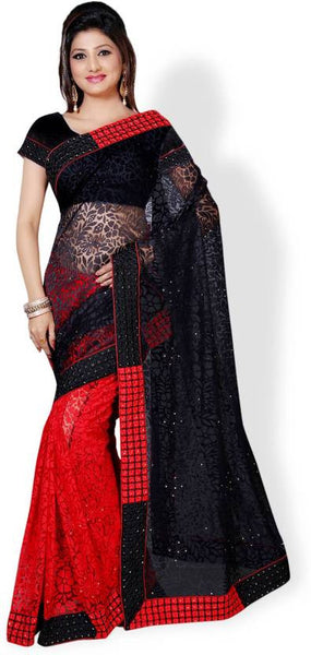 Women's Red & Black Embroidered, Self Design Bollywood Net, Brasso Sari Party Wear Net Saree