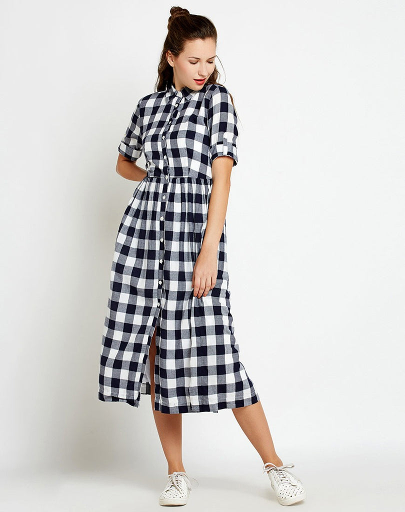 944feb63c Shop Online Navy Check Printed Midi Shirt Dress in India at Best ...