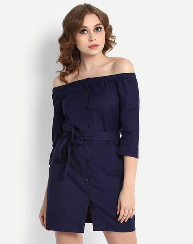 navy-colored-dresses-off-shoulder-shirt-dress-knot-style-midi-dress