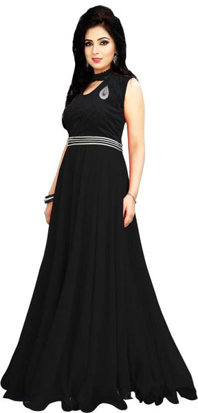 Black Color Sleeveless Fancy Long Gown