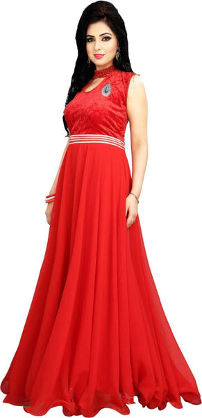 Designer Wedding Gowns Hot Red Color Partywear Gown