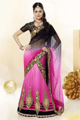Designer Pink & Black Colored Lehenga Choli Net Heavy Embroidered Semi Stitched Bridal Lehenga Saree