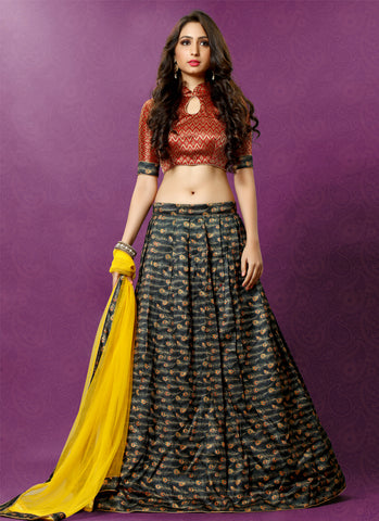 Navratri Deals Partywear Abstract Peacock Feather Print Printed Lehenga Choli