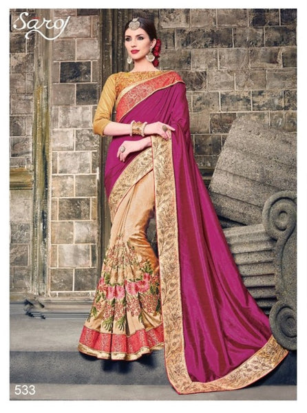 Urban Naari 21456 Cream & Pink Colored Art Silk Embroidered Saree