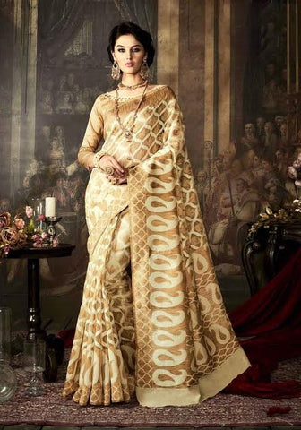 Fancy Art Silk Sarees Beige & Off White Printed Saree With Dyed Weaving Work