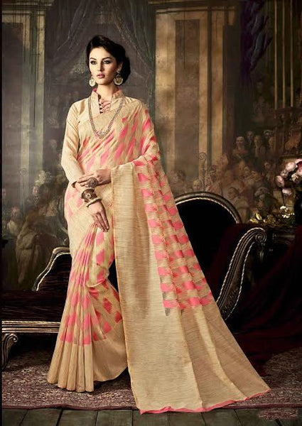 Fancy Art Silk Sarees Pink & Beige Colored Dyed Weaving Silk Printed Saree