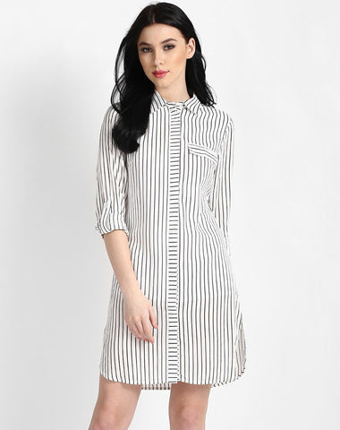 white-&-black-lining-printed-shirt-dress-full-sleeves-midi-dress
