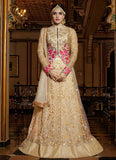 Shop Now Beige Color Lehenga Choli With Floral Embroidery & Fancy Zip Jacket Style Choli