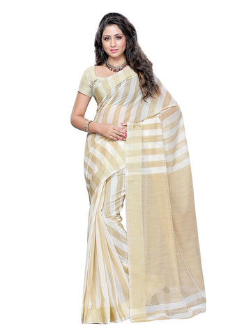 Off White Saree With Golden Border