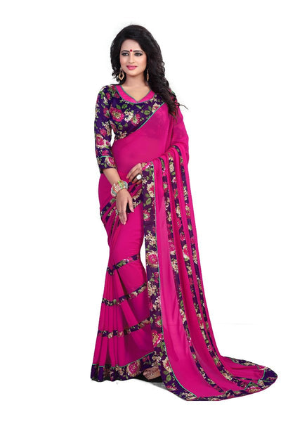 Magenta Printed Chiffon Sarees Floral Print Border & Floral Stripes With Floral Print Blouse Piece