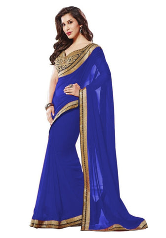 latest-blue-plain-bollywood-sarees-sophie-choudry's-bollywood-sarees-with-golden-lace-border-work