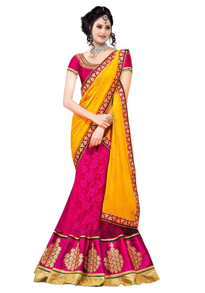 Yellow And Pink Designer Lahenga Saree