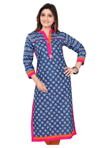 Blue Color Straight Printed Kurta And Kurtis Cotton Printed Kurtis