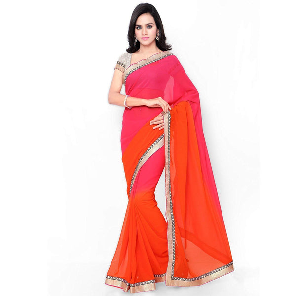 Orange And Pink Saree