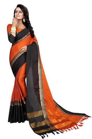 Orange And Black Saree - Cotton Silk Saree