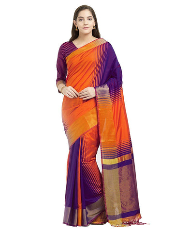 Orange And Purple Saree