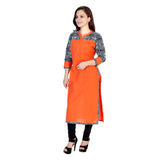 Orange Cotton Straight Kurtis And Kurtas Plain Casual Cotton Kurtis For Girl