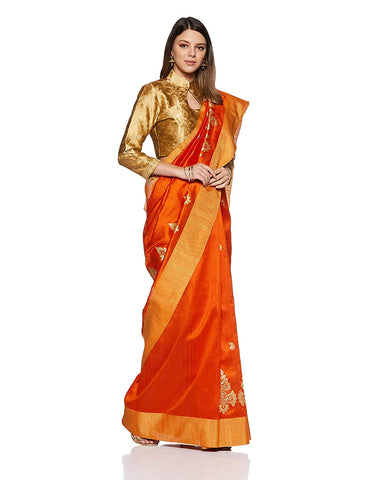 Orange Saree With Golden Border
