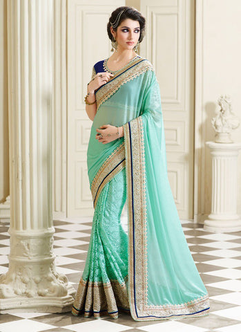 Designer Sky Blue Colored Georgette & Net Saree with Heavy Golden Border Saree