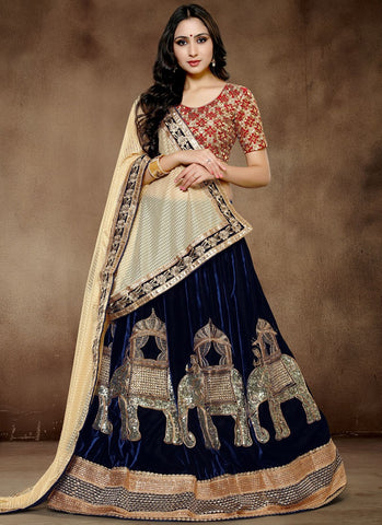 Navy Blue Colored Pure Viscose Velvet Embroidered Semi-stitched Lehenga Choli