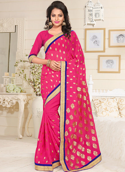 Urban-Naari-Pink-Colored-Georgette-Embroidered-Saree