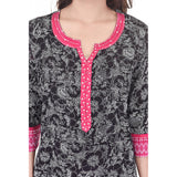 Designer Printed Floral Cotton Black Kurti For Women