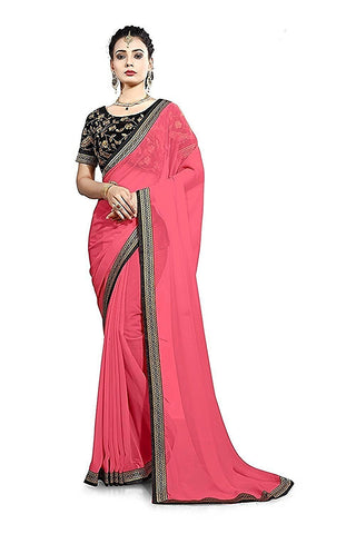 Pink And Black Saree