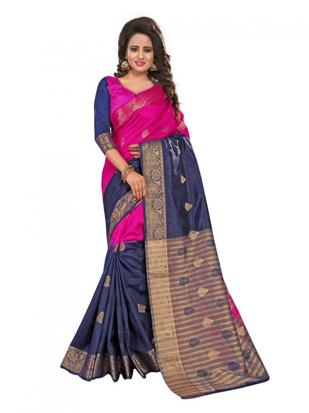 Urban-Naari-Pink-And-Blue-Colored-Banarasi-Silk-And-Jacquard-Saree