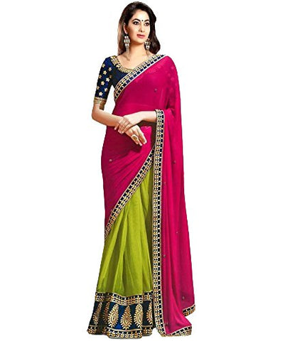 Pink And Green Saree