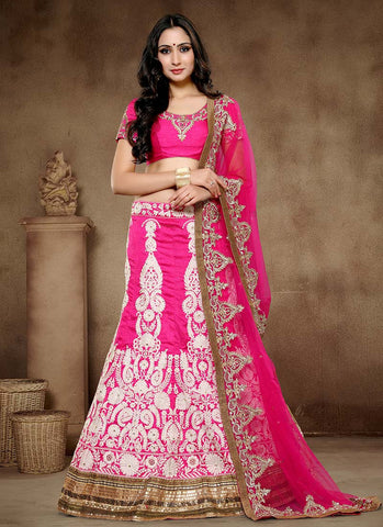 Designer Pink Colored Lehenga Choli Bridal Pure Silk Embroidered Semi-stitched Lehenga Choli