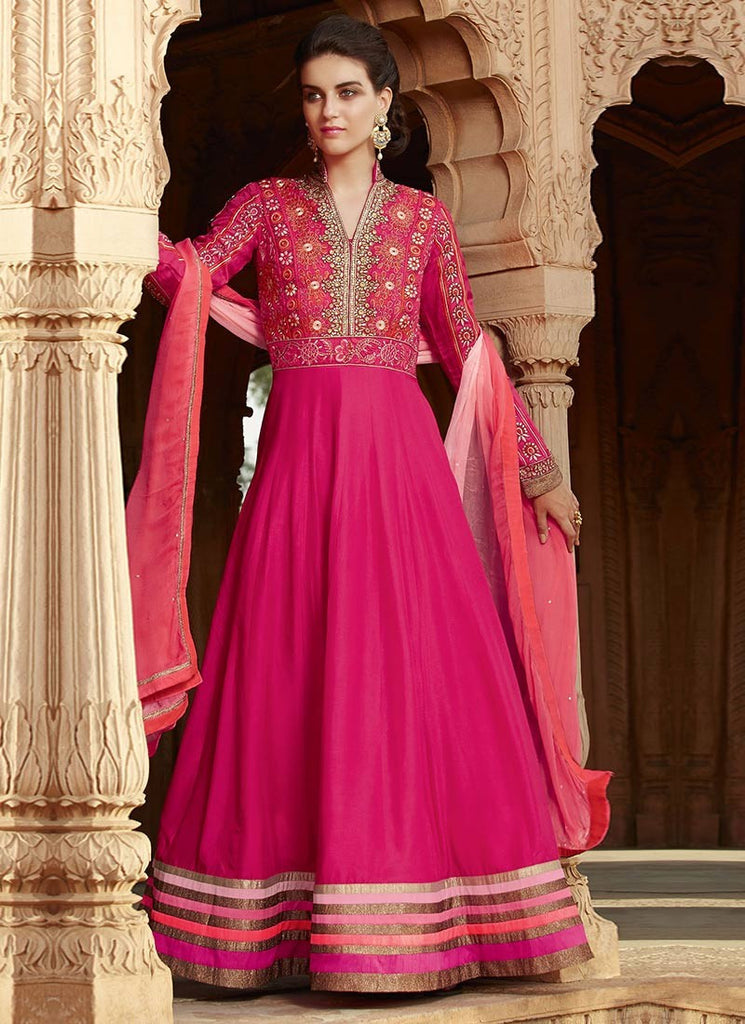 c9b7fc4a0e Shop Online Designer Pink Color Partywear Lahenga Style A-Line Anarkali Suit  With Heavy Embroidery – Lady India