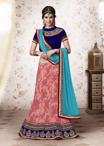 Beautiful Lehenga Saree Gajari & Blue Colored Brasso Net Heavy Embroidered Lehenga Choli
