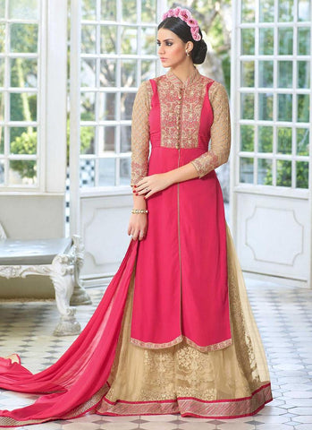 Pink-Georgette-Embroidered-Palazzo-Suit-Designer-Salwar-Suit-Anarkali-Suit