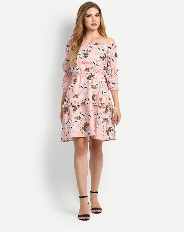 designer-dresses-off-shoulder-peach-colored-skater-dress-midi-floral-dress