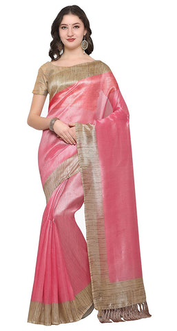 Pink Saree With Gold Border